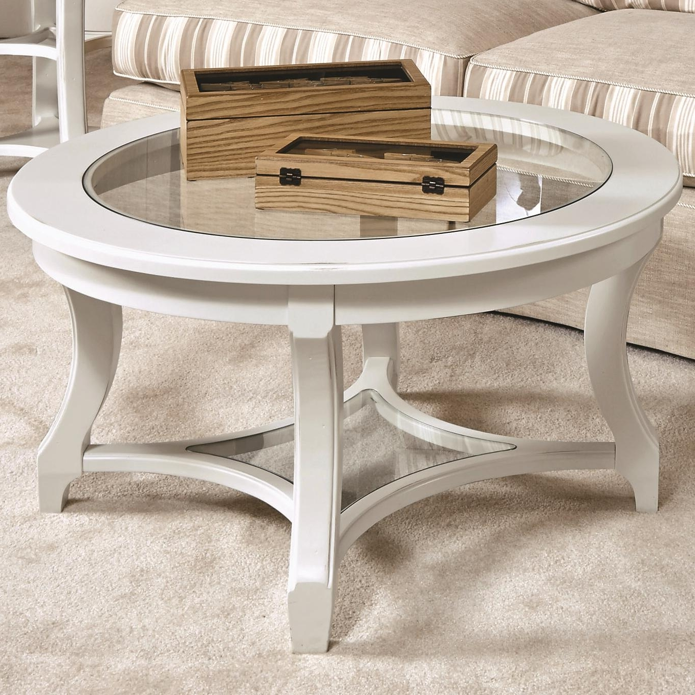 Most Recent Haven Coffee Tables Pertaining To American Drew Lynn Haven Round Glass Cocktail Table With Lower Glass (View 20 of 20)
