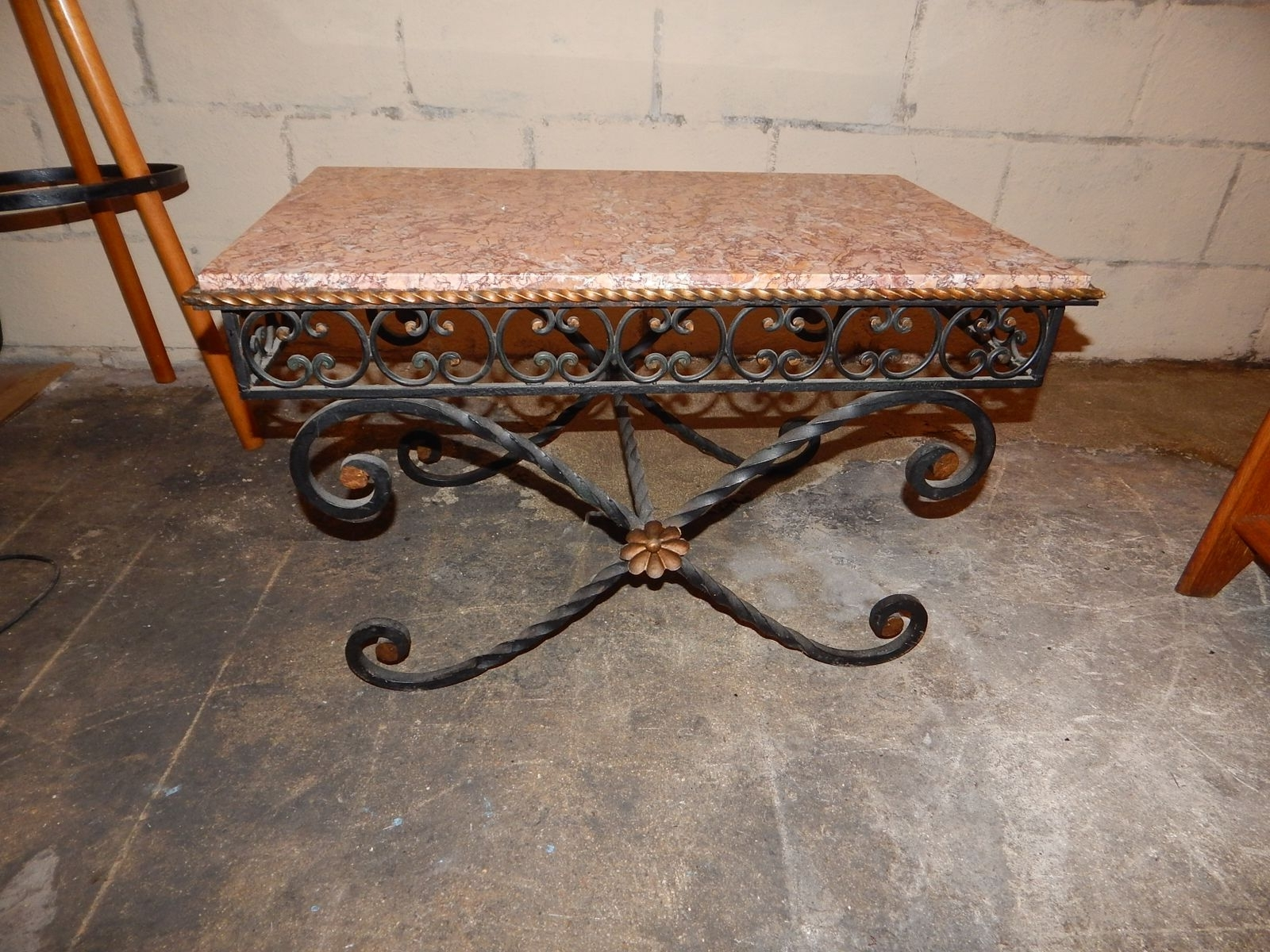 Most Recent Iron Marble Coffee Tables Pertaining To Vintage Wrought Iron & Marble Coffee Table, 1930S For Sale At Pamono (View 12 of 20)