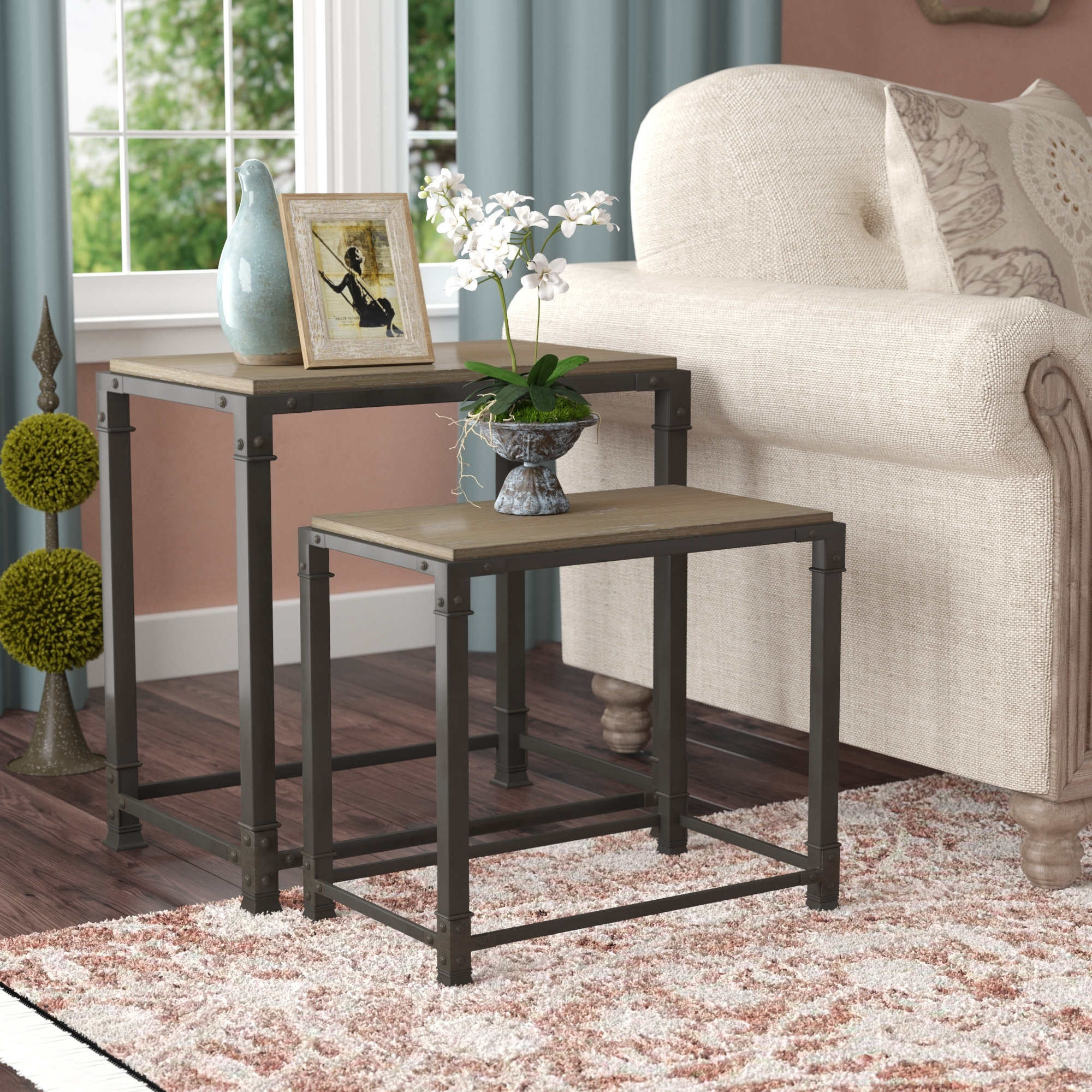 Most Recent Large Scale Chinese Farmhouse Coffee Tables With Laurel Foundry Modern Farmhouse Remy 2 Piece Nesting Tables (View 12 of 20)