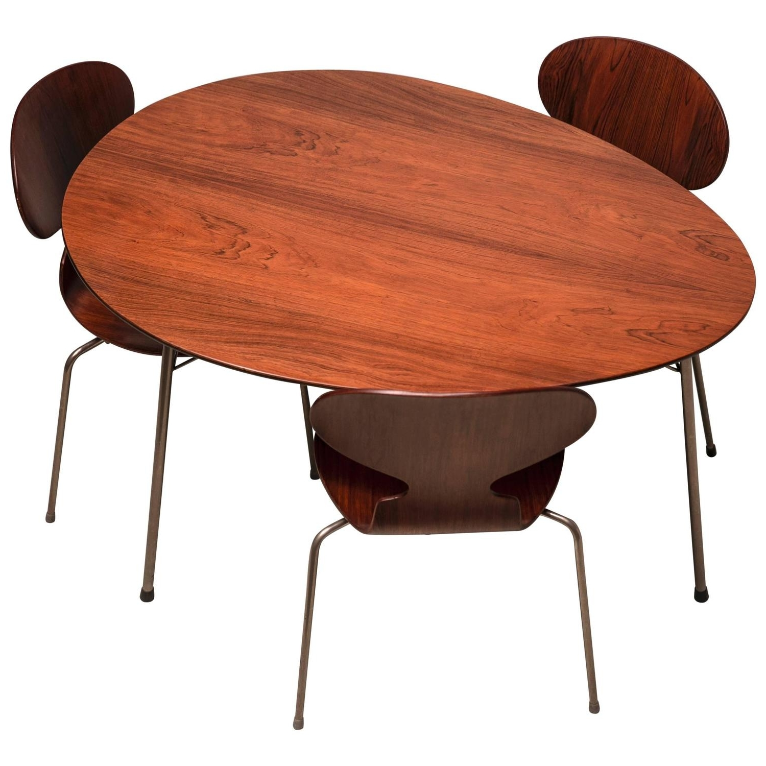 Most Recent Mid Century Modern Egg Tables Throughout Exceptional Early Brazilian Rosewood Egg Table And Ant Chairs (View 10 of 20)