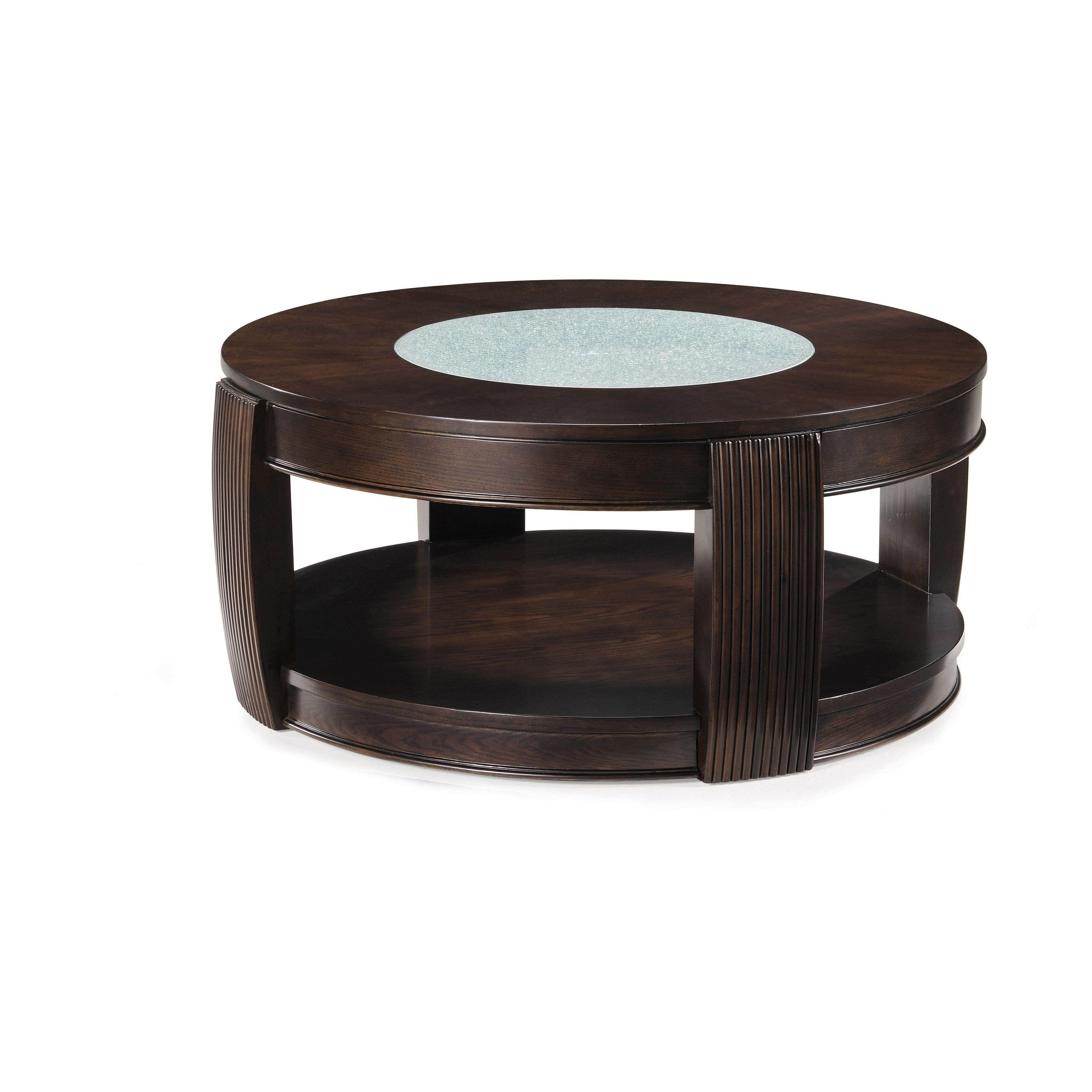 Most Recent Ontario Cocktail Tables With Casters Throughout Magnussen T1738 Ino Wood And Glass Round Coffee Table With Casters (View 14 of 20)