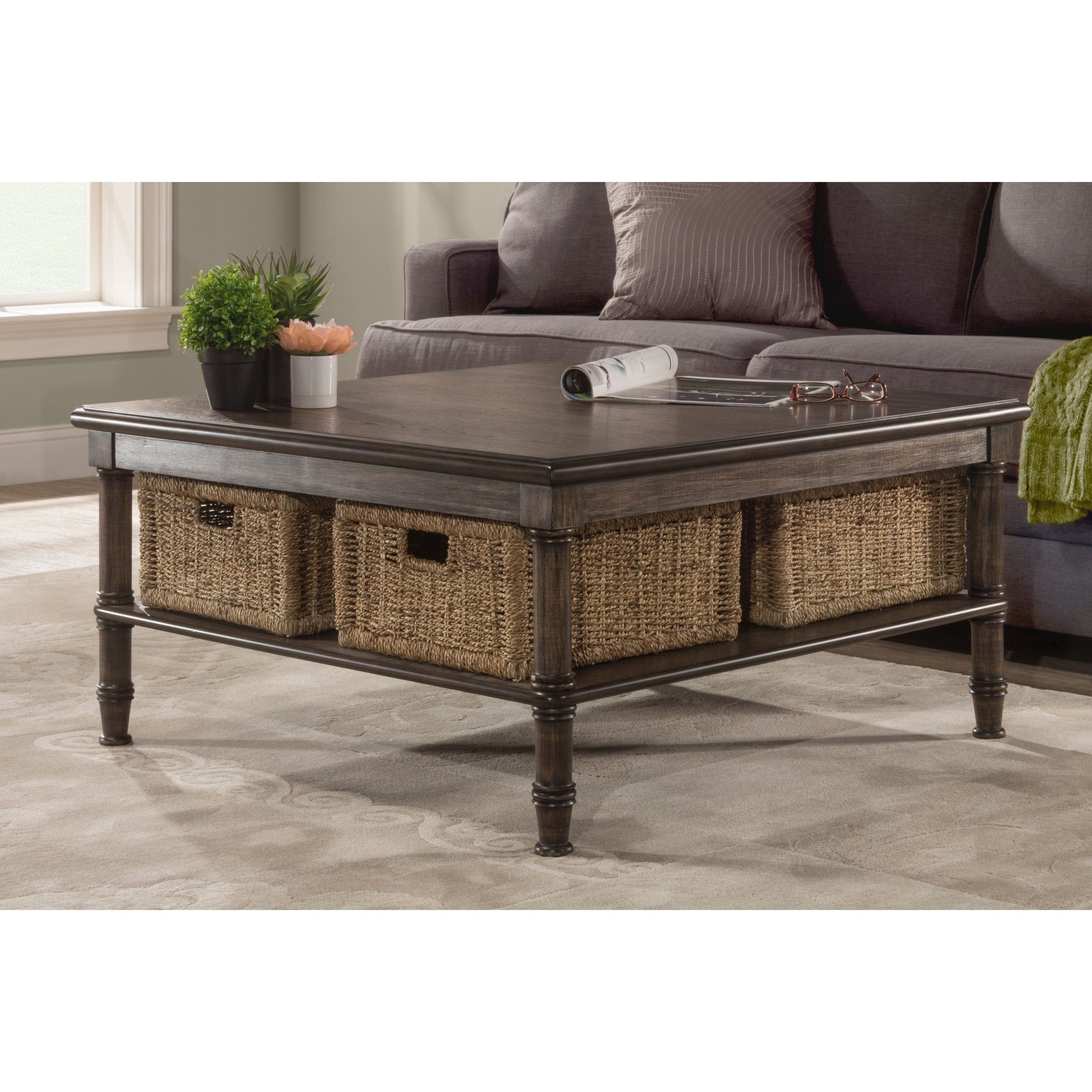 Most Recent Seneca Lift Top Cocktail Tables Within Shop Seneca Coffee Table – 4 Baskets Included – Free Shipping Today (View 13 of 20)