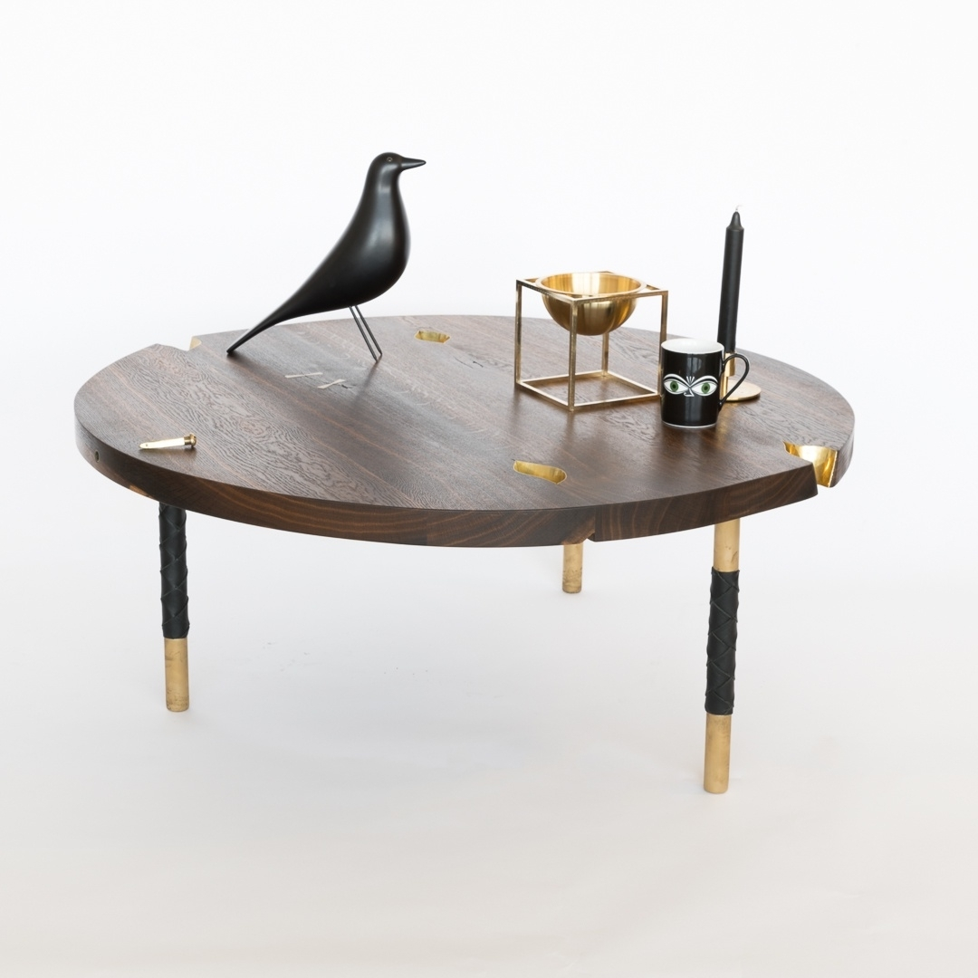 Most Recent Smoked Oak Coffee Tables With Regard To Laura Bergsøe – Round Coffee Table / Smoked Oak / Brass (View 12 of 20)
