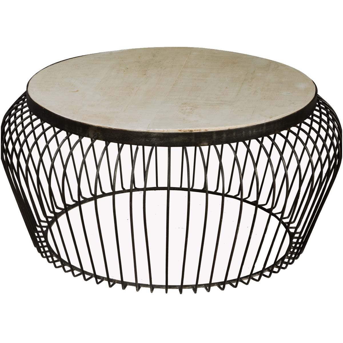 "Most Recent Swell Round Coffee Tables With Wire Basket Mango Wood & Iron 38"" Round Coffee Table (View 5 of 20)"