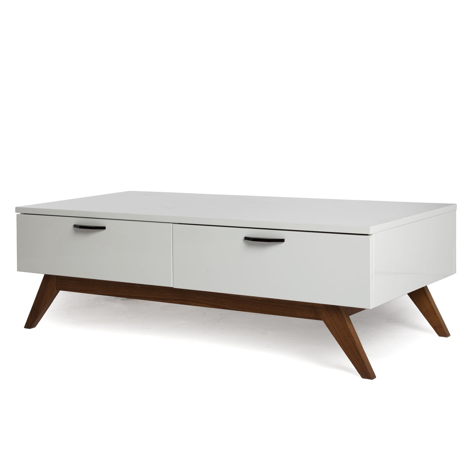 Most Recent Walnut Finish 6 Drawer Coffee Tables Within White Modern Coffee Table Glossy White (View 10 of 20)