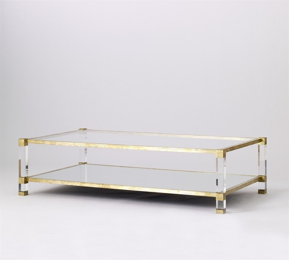 Most Recently Released Acrylic Glass And Brass Coffee Tables Throughout Coffee Table, Lucite, Brass (View 2 of 20)