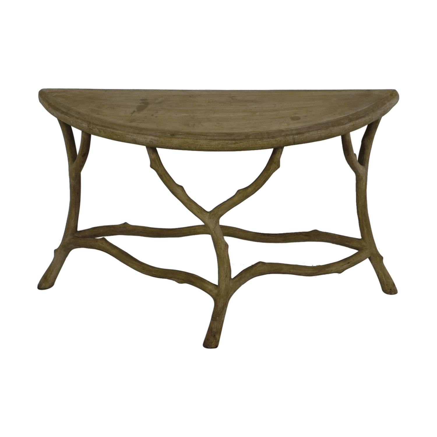 [%Most Recently Released Faux Bois Coffee Tables Throughout 90% Off – Horchow Horchow Grey Faux Bois Half Table / Tables|90% Off – Horchow Horchow Grey Faux Bois Half Table / Tables Within Most Current Faux Bois Coffee Tables%] (View 2 of 20)