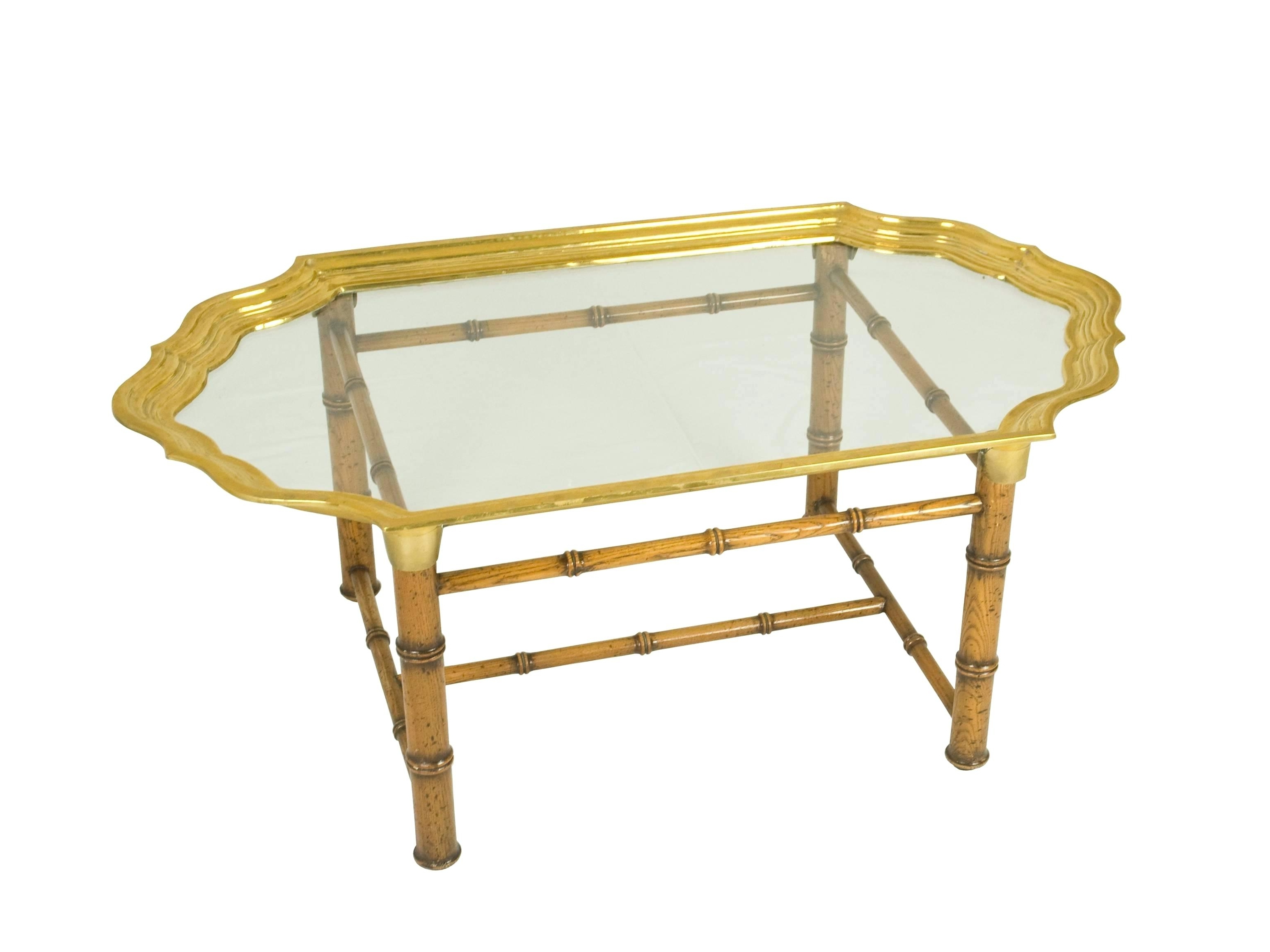 Most Recently Released Joni Brass And Wood Coffee Tables In Brass And Wood Coffee Table Antique Brass And Wood Nailhead Inlay (View 12 of 20)