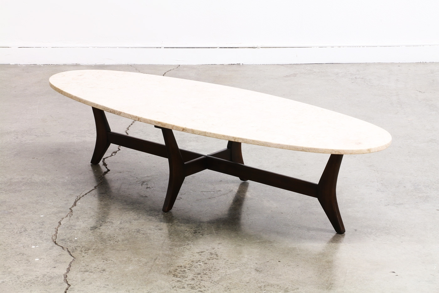 Most Recently Released Mid Century Modern Marble Coffee Tables Regarding Mid Century Surfboard Style Marble Top Coffee Table , (View 14 of 20)