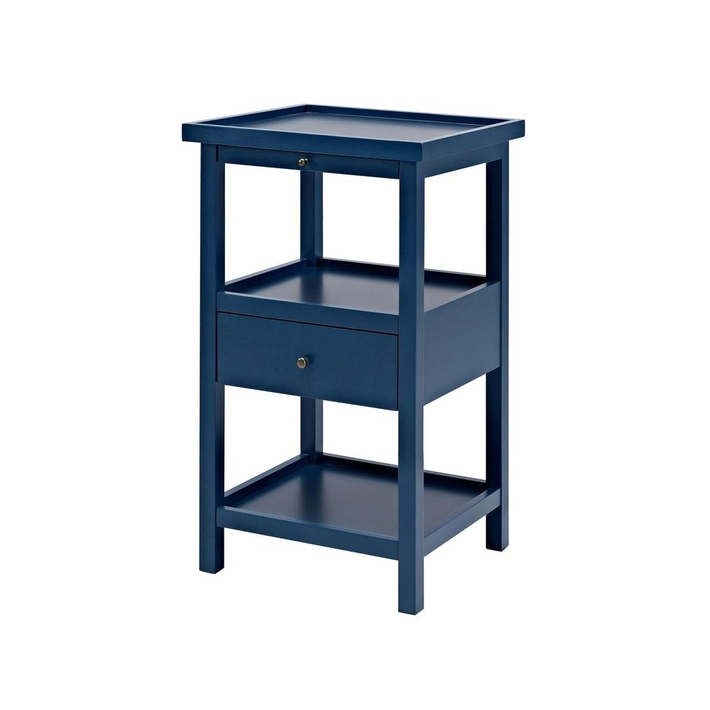 Most Recently Released Palmer Storage Cocktail Tables Pertaining To Powell Palmer Blue Table With Shelf 16A8255Sb – The Home Depot (View 6 of 20)