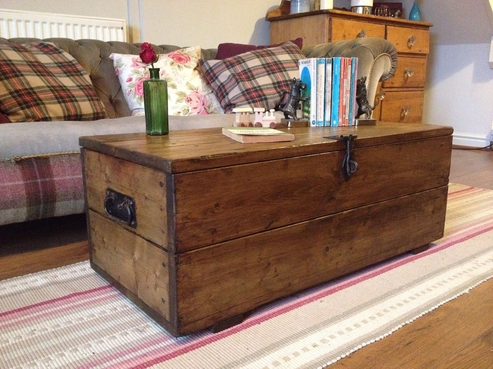 Most Recently Released Vintage Wood Coffee Tables Throughout Old Rustic Pine Box, Vintage Wooden Chest, Coffee Table, Toy Or (View 8 of 20)