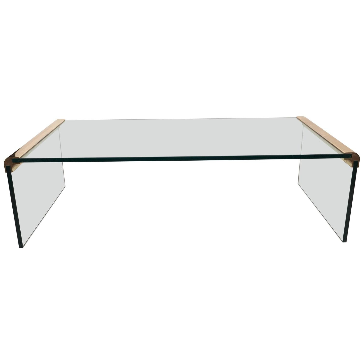 Most Recently Released Waterfall Coffee Tables For Pace Collection Glass Waterfall Coffee Table With Brass Trim At 1Stdibs (View 12 of 20)