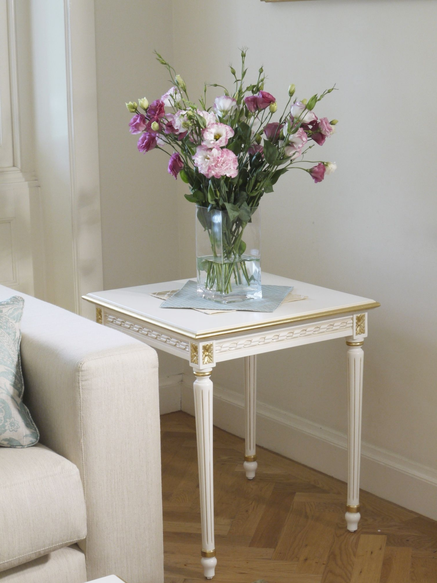 Most Up To Date Fresh Cut Side Tables With Regard To Louis Xvi Side Table Antique White With Gilding (View 15 of 20)