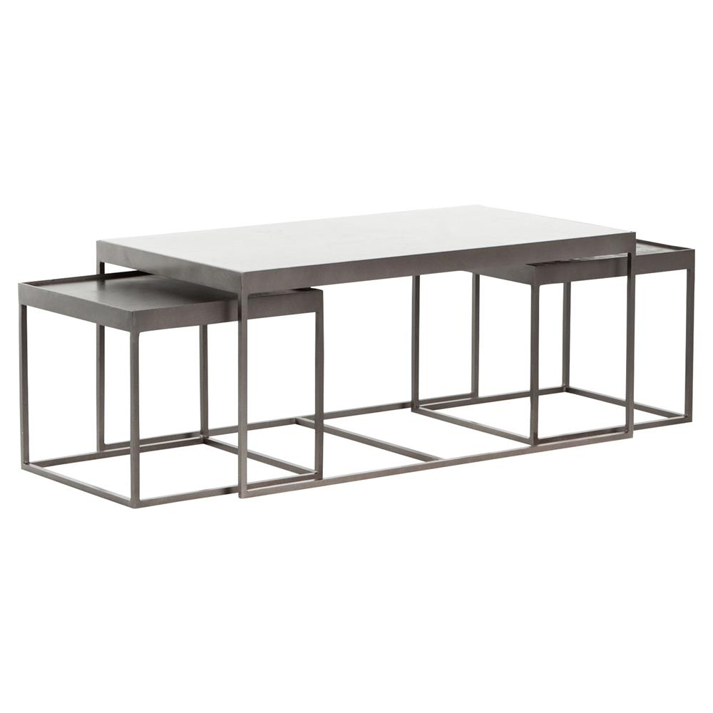 Most Up To Date Gunmetal Coffee Tables Inside Nash Industrial Loft White Marble Iron Nesting Coffee Table (View 13 of 20)