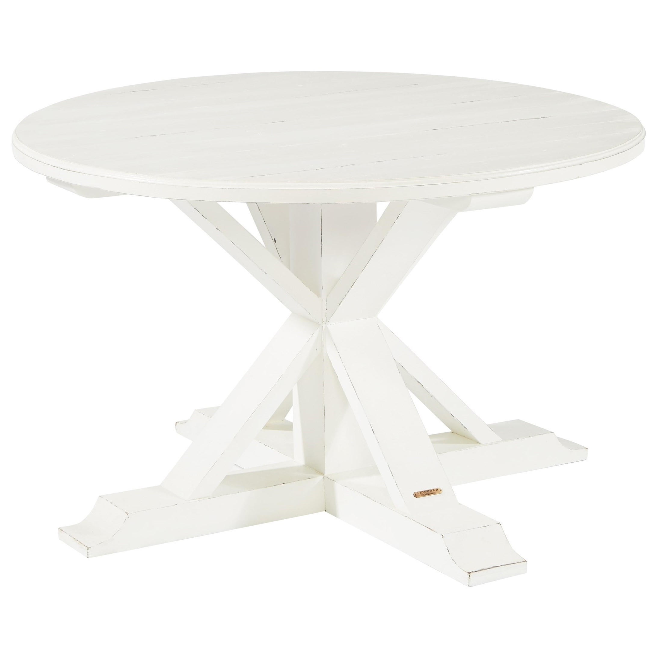 Most Up To Date Magnolia Home Scallop Antique White Cocktail Tables For Round Table With X Shaped Pedestalmagnolia Homejoanna Gaines (View 11 of 20)