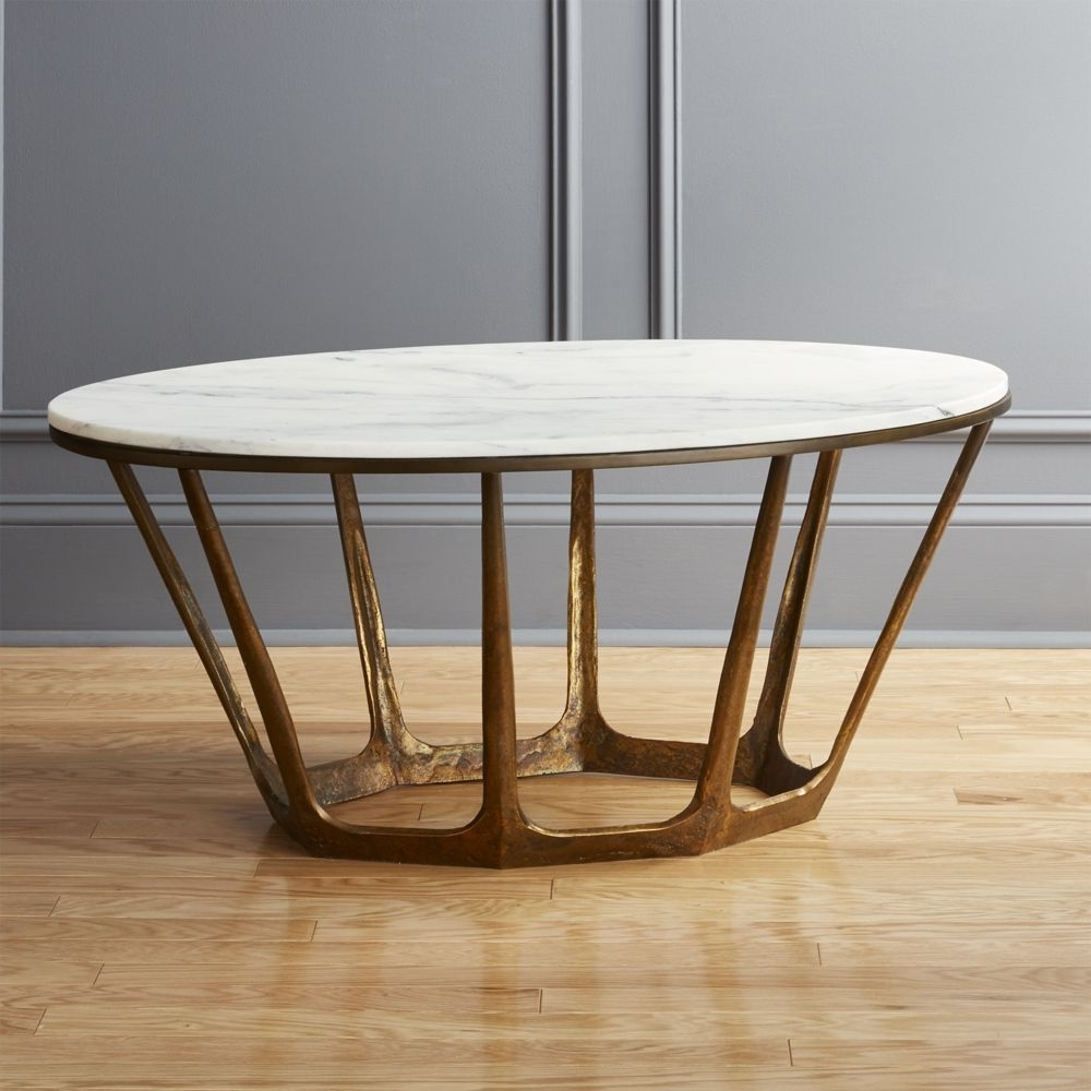 Most Up To Date Parker Oval Marble Coffee Tables Pertaining To Marble Topped Pedestal Coffee Table – White Marble/antique (View 4 of 20)