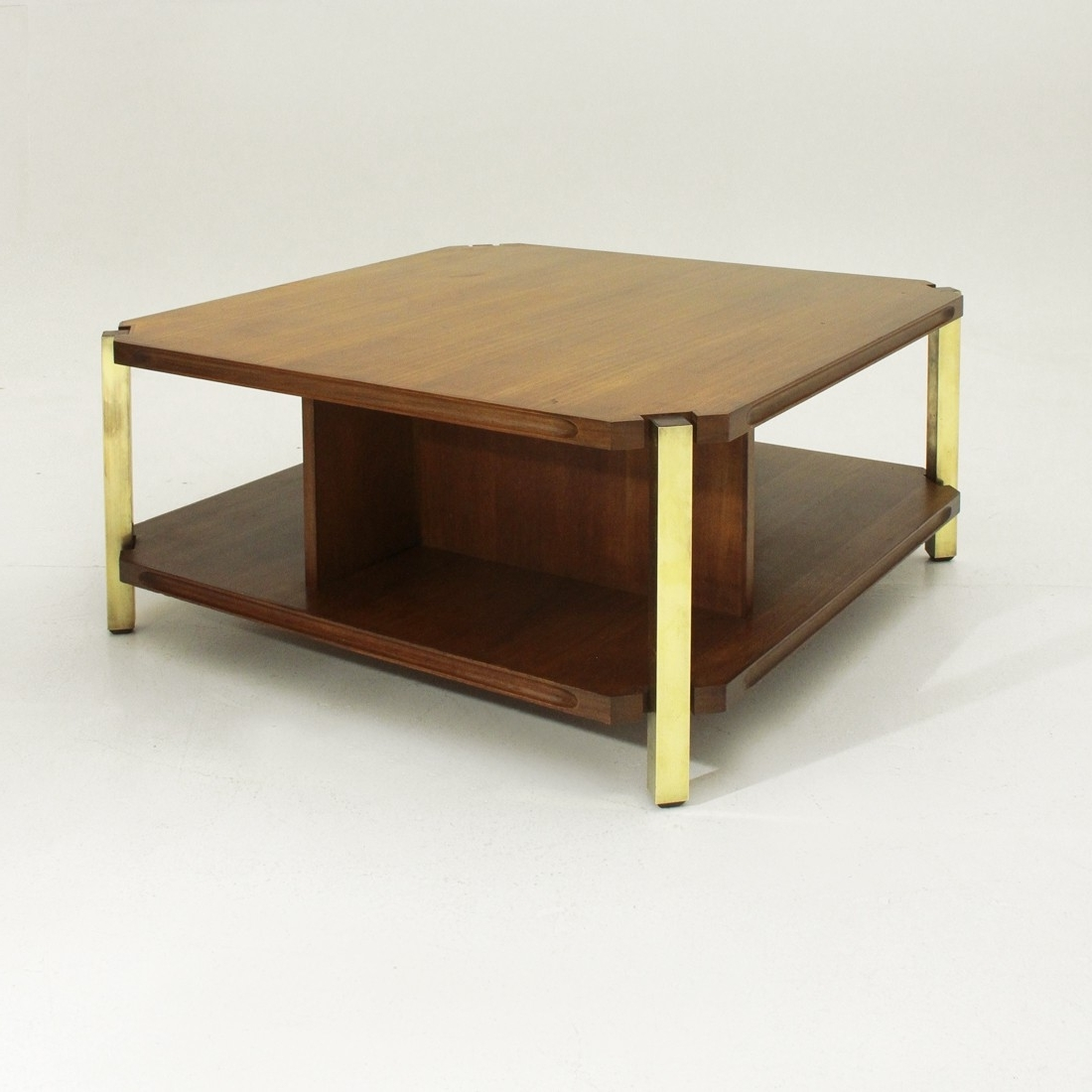 Most Up To Date Rectangular Coffee Tables With Brass Legs With Italian Teak Coffee Table With Brass Legs – 1960s – Design Market (View 19 of 20)