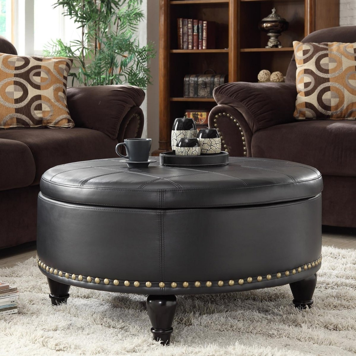 Most Up To Date Round Button Tufted Coffee Tables Inside Breathtaking Large Round Leather Ottoman Coffee Table Inspired (View 5 of 20)