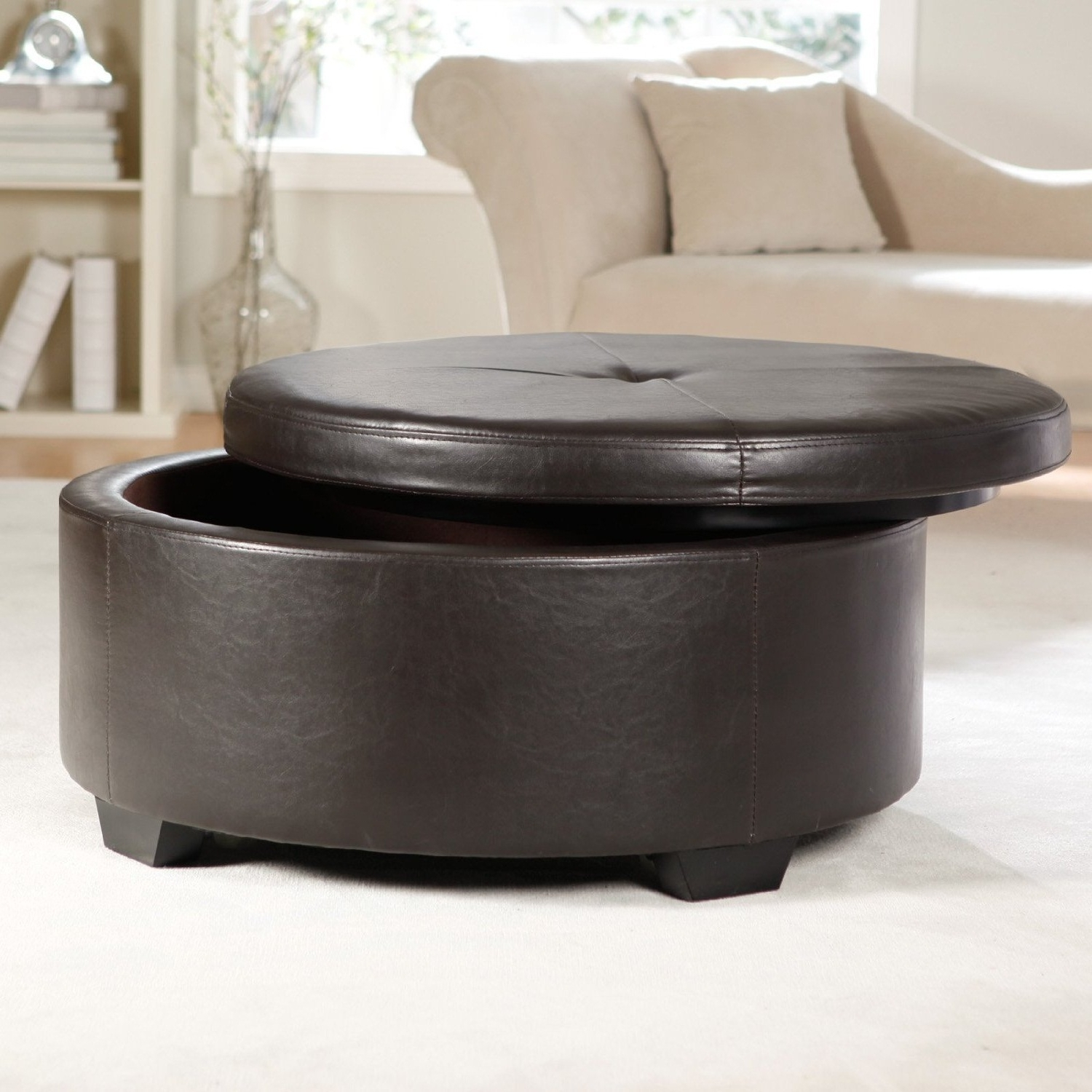 Most Up To Date Round Button Tufted Coffee Tables Within Round Leather Storage Ottoman Coffee Table Furniture With Brown Best (View 7 of 20)