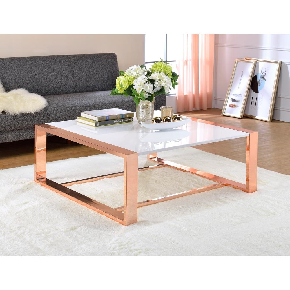 Most Up To Date Round White Wash Brass Painted Coffee Tables Inside Acme Furniture Porviche White High Gloss And Rose Gold Coffee Table (View 11 of 20)