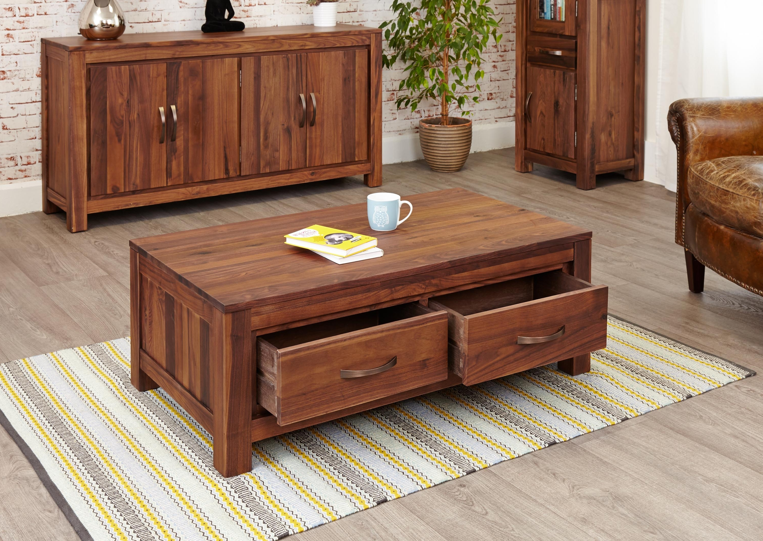 Most Up To Date Walnut 4 Drawer Coffee Tables In Mayan Walnut Low Four Drawer Coffee Table (Cwc08B) (View 11 of 20)
