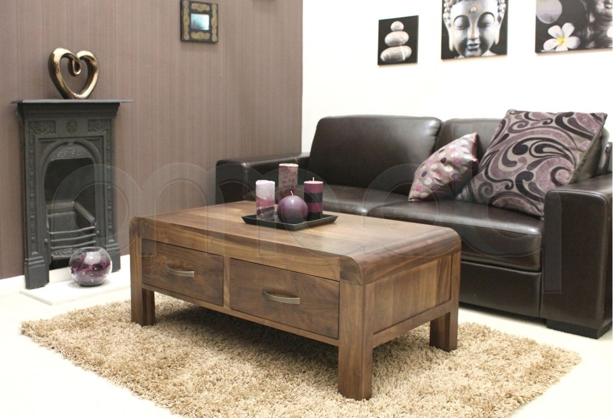Most Up To Date Walnut 4 Drawer Coffee Tables In Shiro Walnut Four Drawer Coffee Table (View 19 of 20)