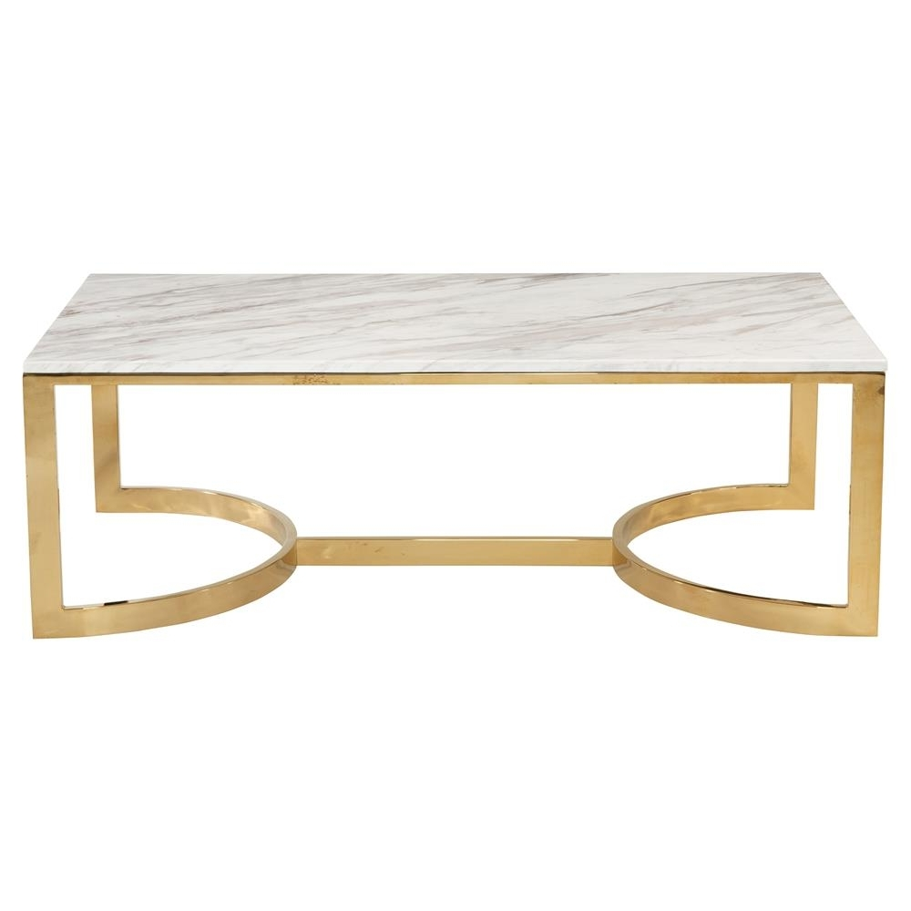 Nata Hollywood White Marble Brass Horse Shoe Coffee Table (View 18 of 20)