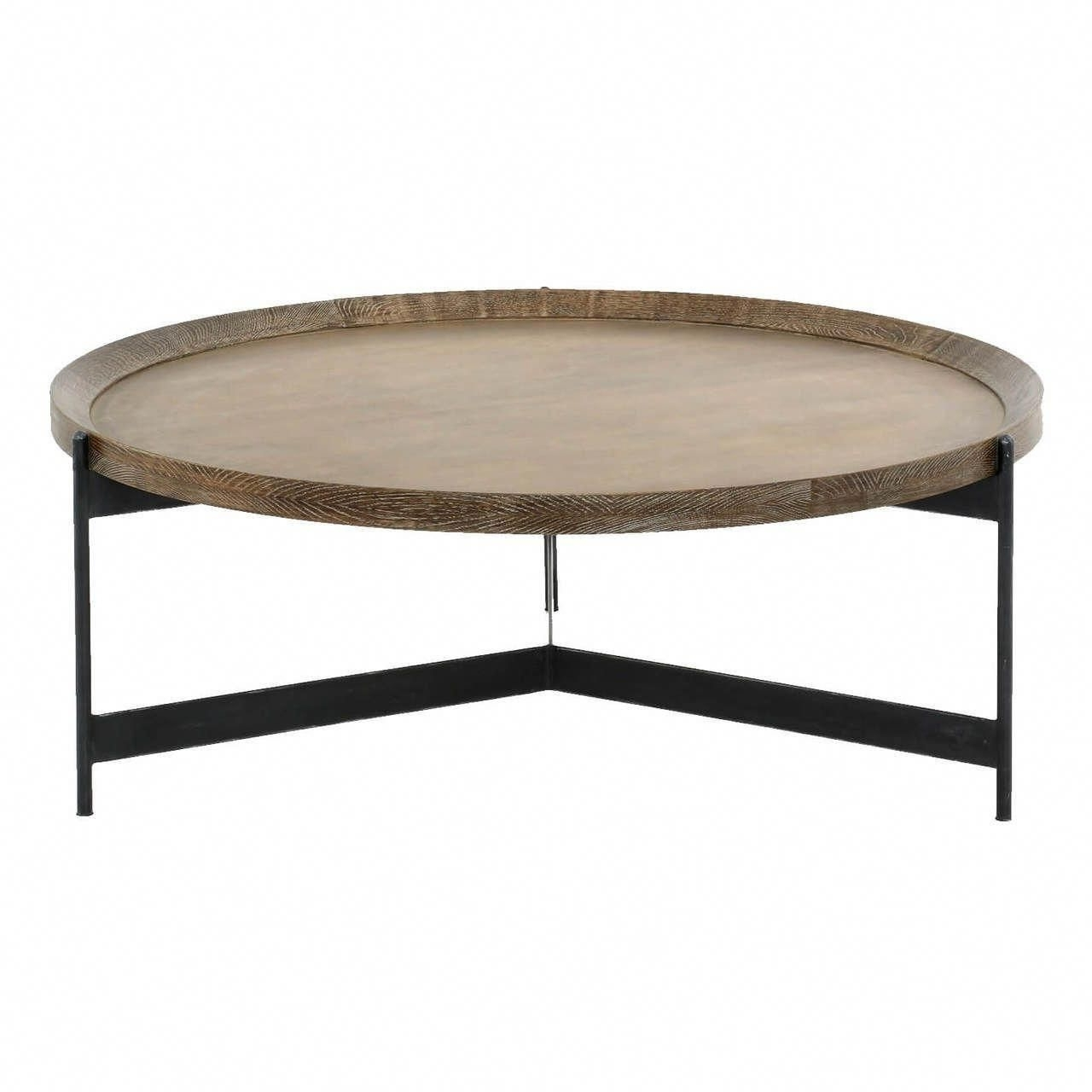 Nathaniel Brass And Oak Round Tray Coffee Table 40 Intended For Preferred Jelly Bean Coffee Tables (View 14 of 20)