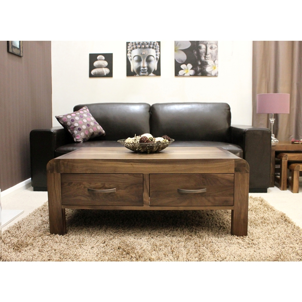 Nepal Walnut 4 Drawer Coffee Table (Gallery 18 of 20)