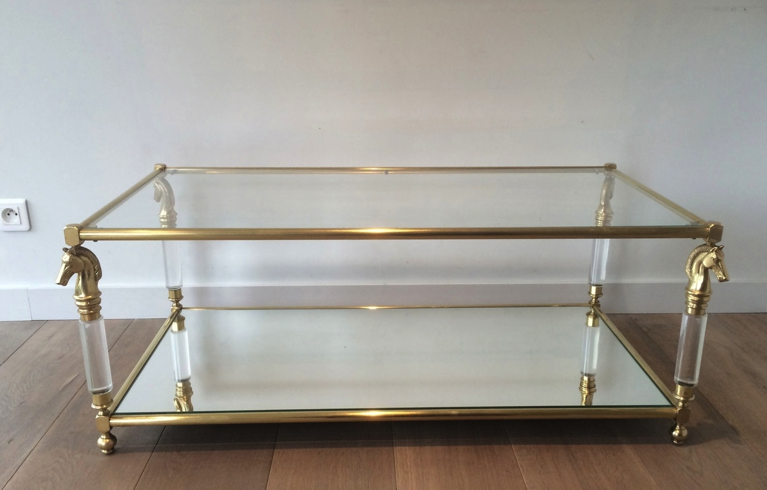 New Lucite Coffee Table In Brass And With Horse Head Motifs 1960s With Regard To Trendy Acrylic Glass And Brass Coffee Tables (View 16 of 20)