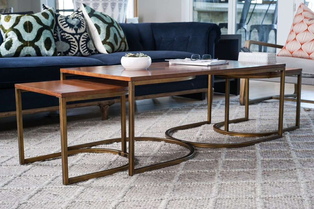 New Nesting Coffee Table Within Copper Round 2 Piece Set Furniture Regarding Most Current Set Of Nesting Coffee Tables (Gallery 11 of 20)