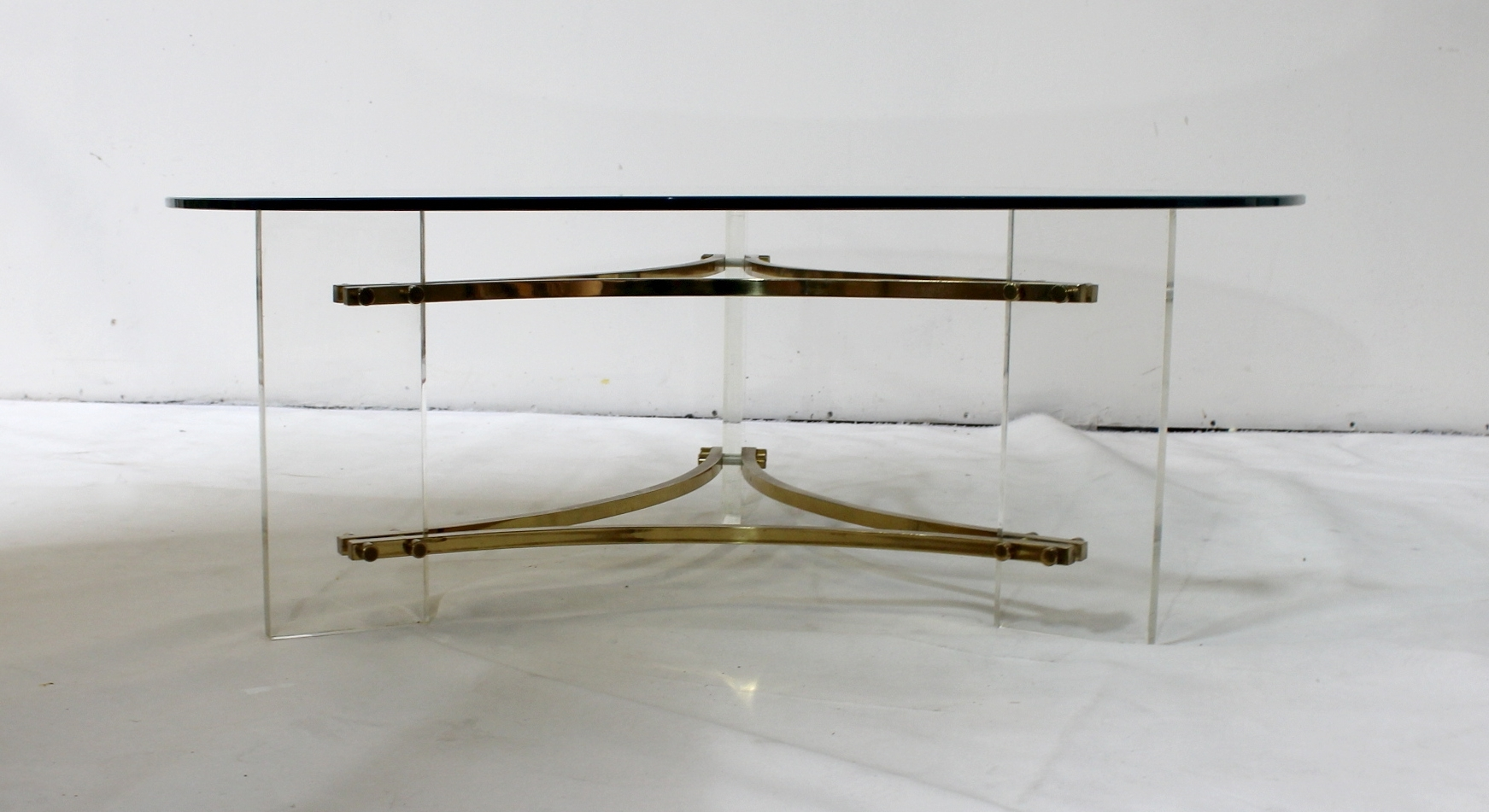 Newest Acrylic & Brushed Brass Coffee Tables With Mid Century Brushed Brass And Acrylic Coffee Tablecharles Hollis (View 5 of 20)