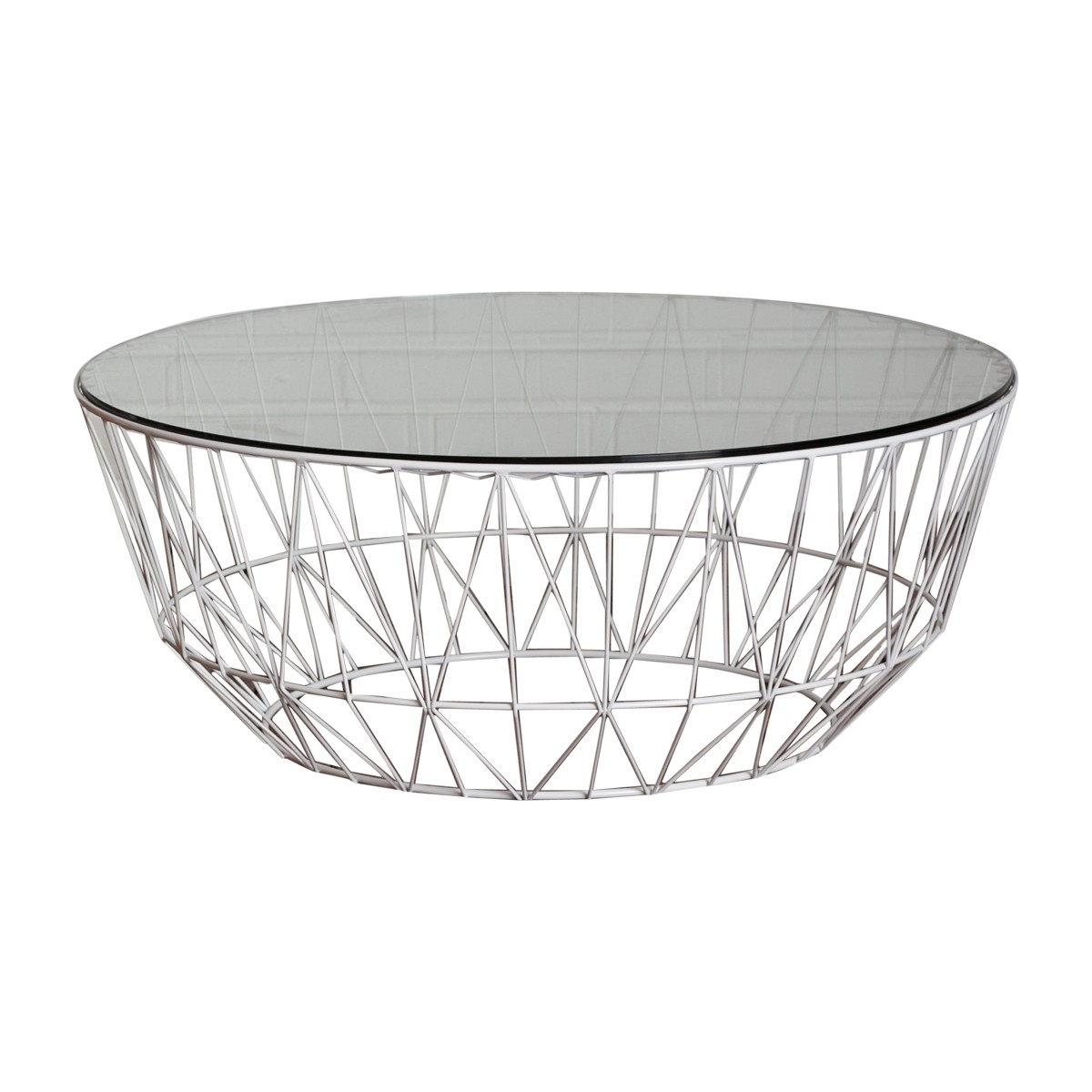 Newest Black Wire Coffee Tables Inside Life Interiors – Studio Wire Glass Coffee Table (White) – Modern (Gallery 5 of 20)