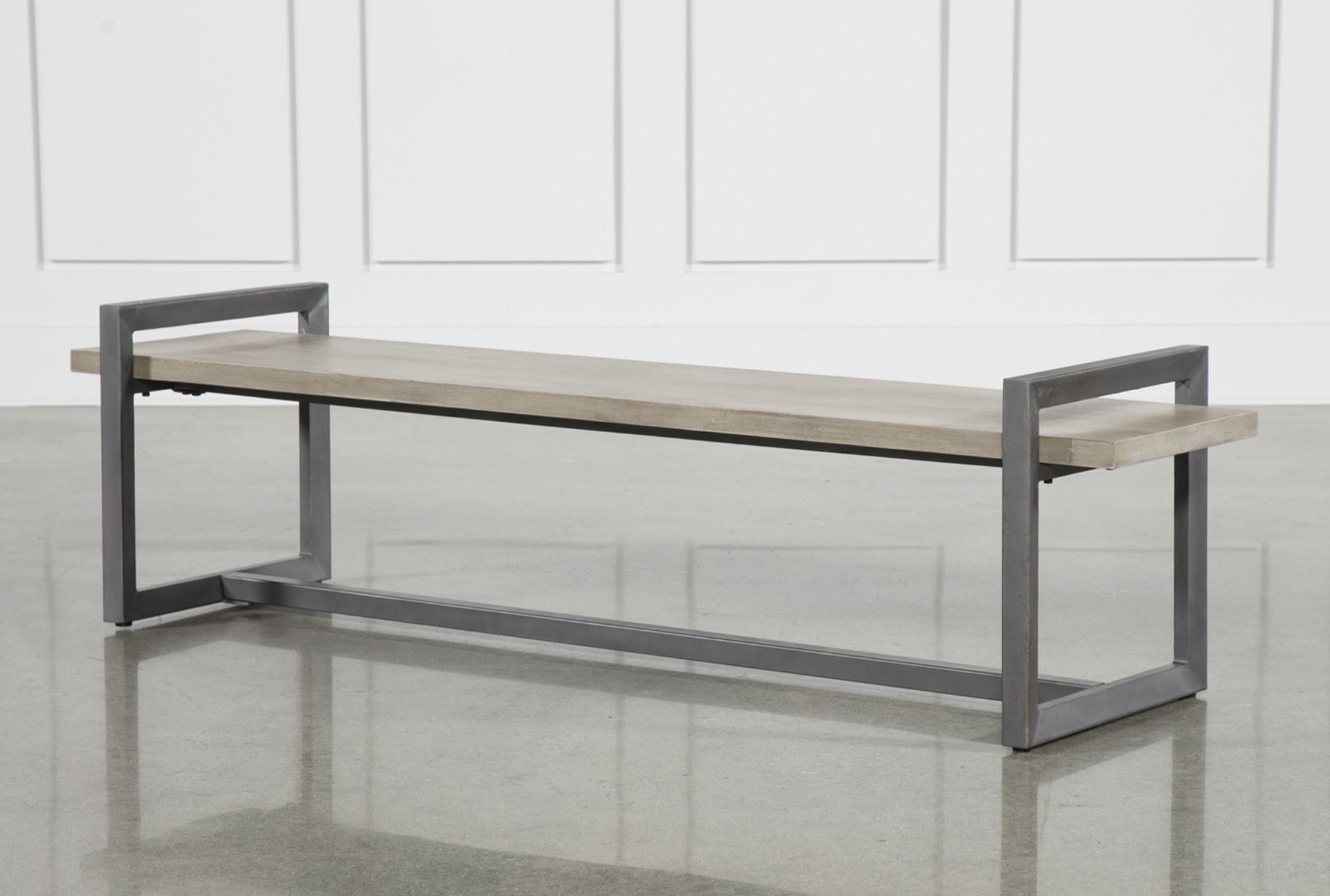 Newest Carissa Cocktail Tables Within Otb Salvage Grey & Gunmetal 76 Inch Large Bench (View 4 of 20)