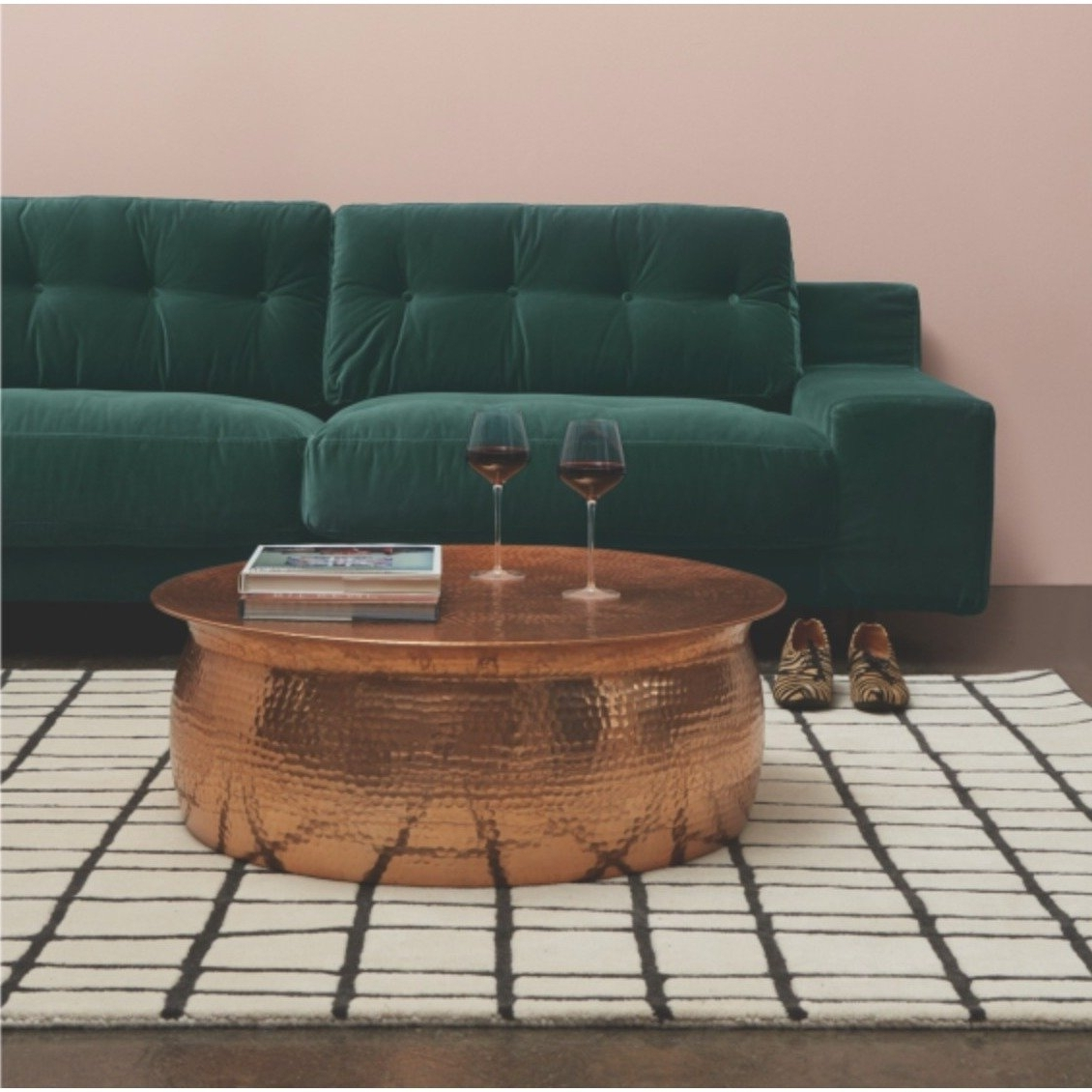 Newest Cuff Hammered Gold Coffee Tables Inside Shop Hammered Rose Gold Finish Coffee Table – Free Shipping Today (View 17 of 20)