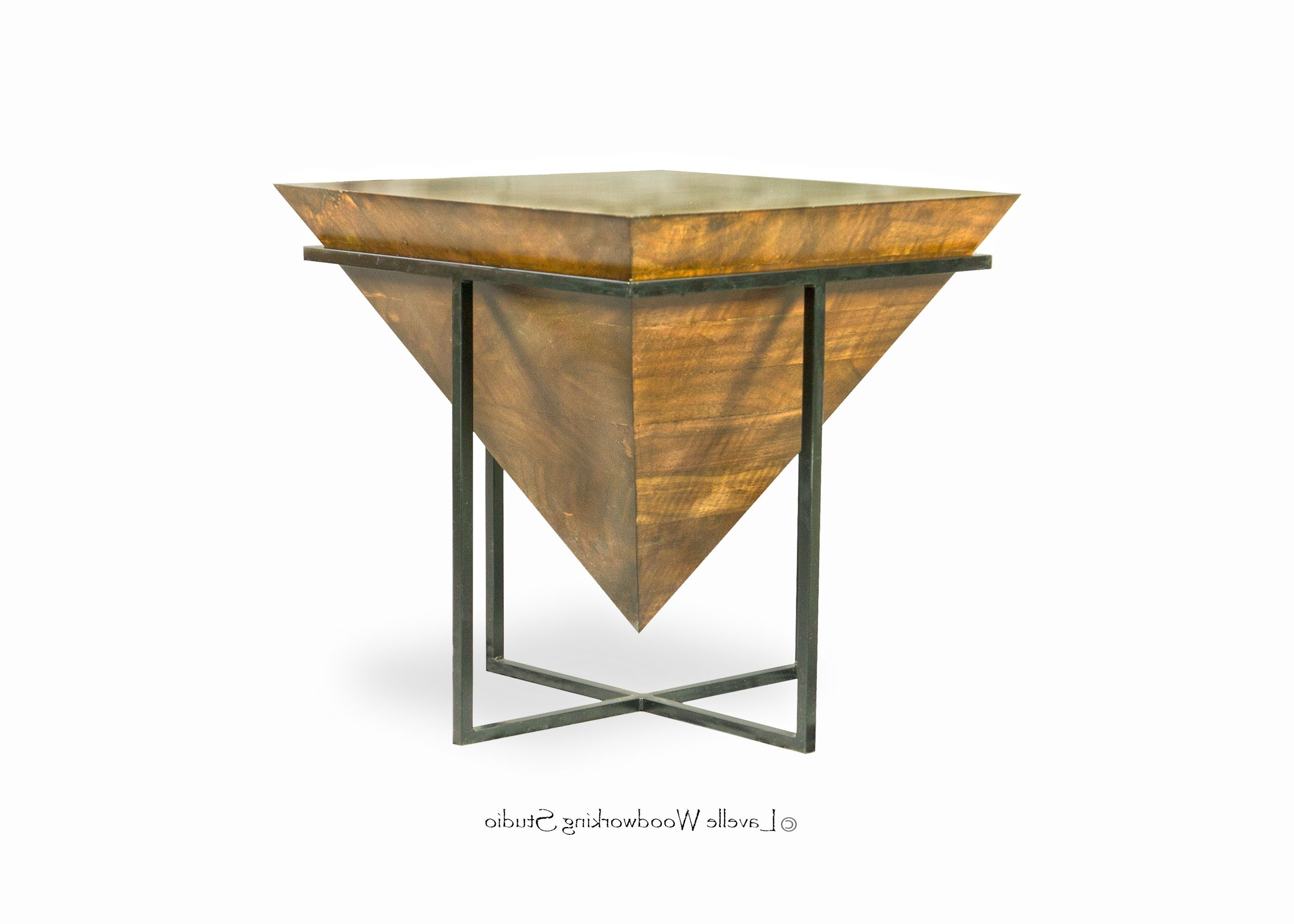 Newest Inverted Triangle Coffee Tables Intended For Hand Made Mara Table Inverted Wood Pyramid With Metal Base (View 3 of 20)