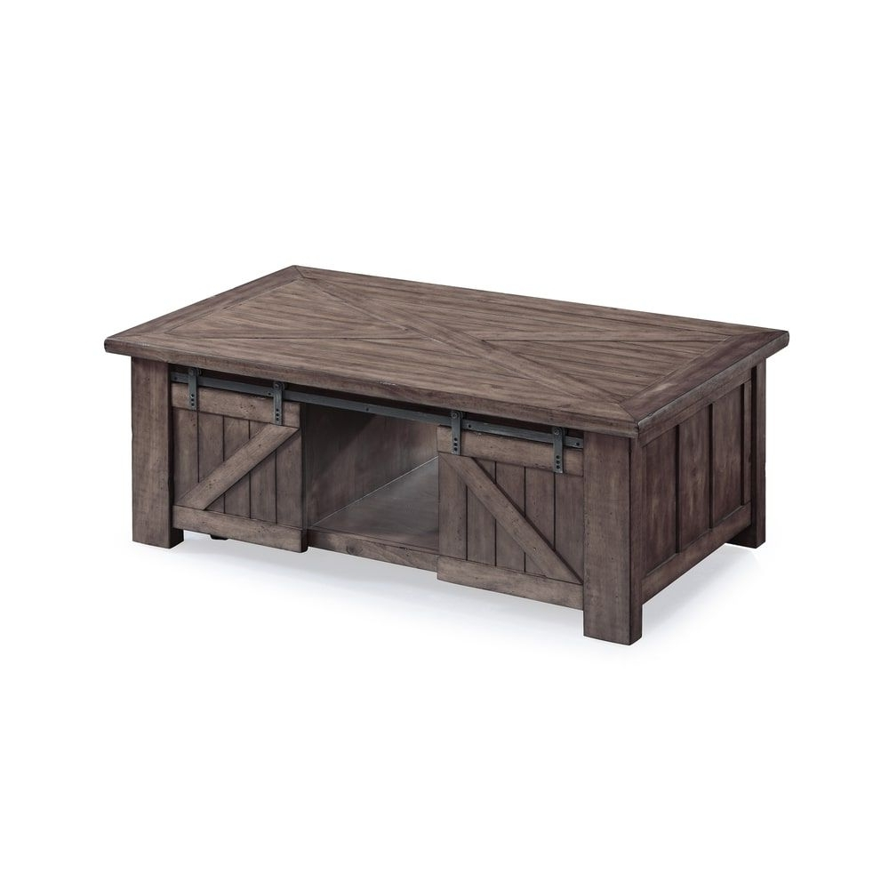 Newest Ontario Cocktail Tables With Casters Throughout Garrett Rustic Weathered Charcoal Lift Top Sliding Door Coffee Table (View 12 of 20)
