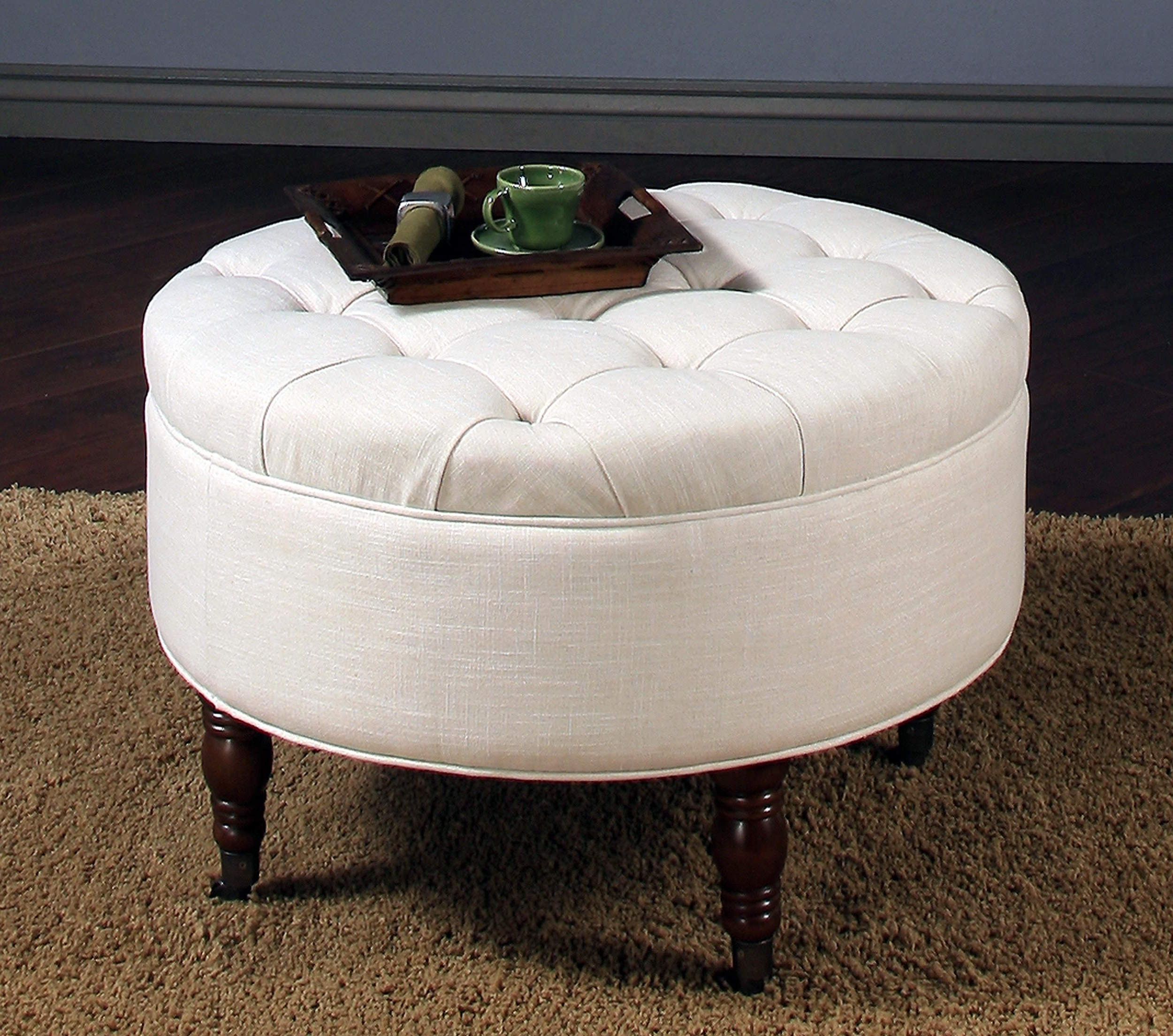 Newest Round Button Tufted Coffee Tables With Regard To Coffee Table: Round Tufted Storage Ottoman Coffee Table Design How (View 5 of 20)