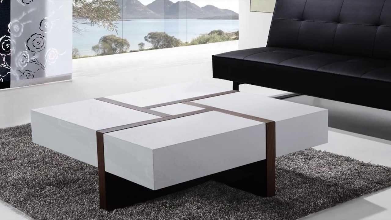 Newest Walnut 4 Drawer Coffee Tables Inside Beliani Coffee Table – 4 Drawers – 100 X 100 Cm – White And Walnut (View 15 of 20)
