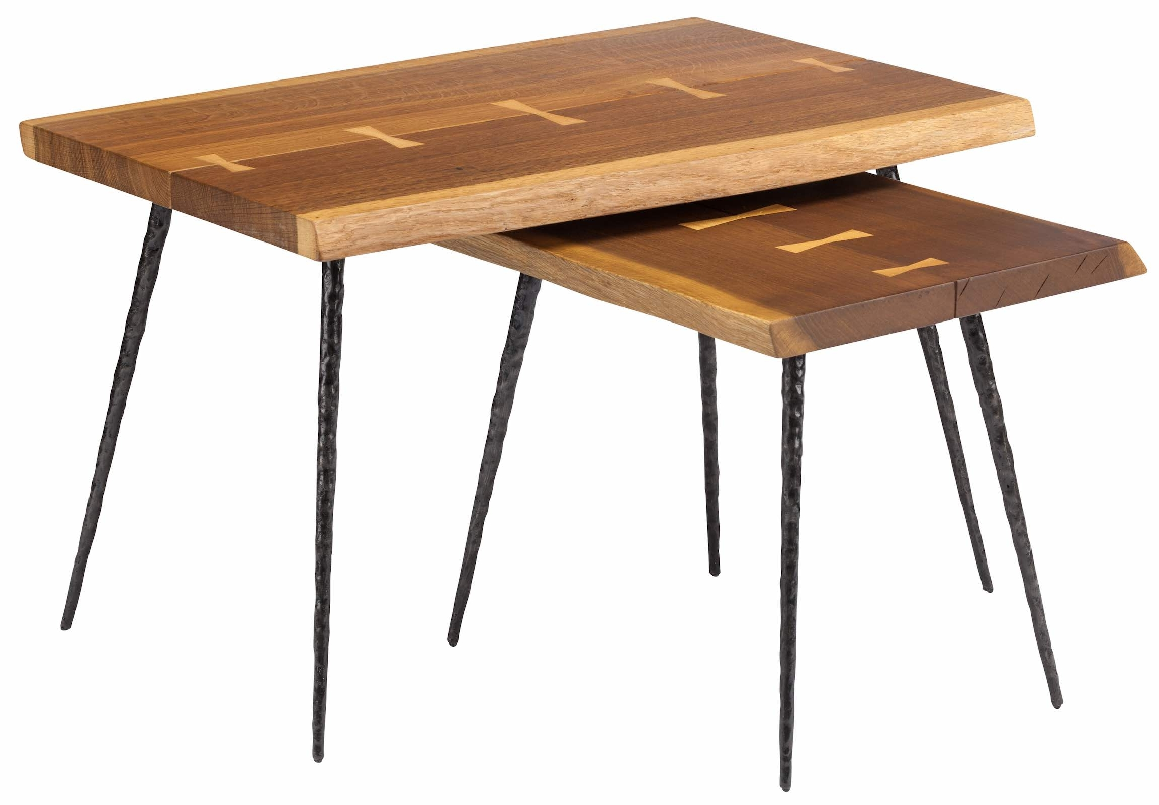 Nexa Nesting Side Tables In Smoked Oak And Cast Iron Feet Regarding Preferred Smoked Oak Side Tables (View 6 of 20)