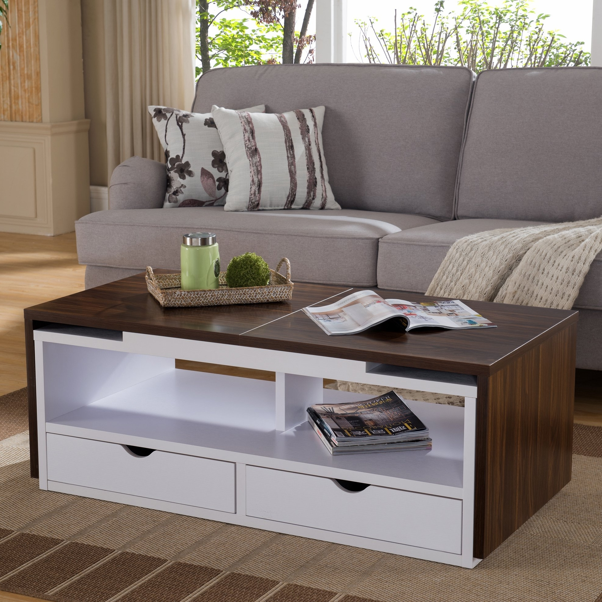 Nola Glass Rectangular Coffee Table With Storage Shelf, Cocktail Regarding Well Known Nola Cocktail Tables (Gallery 3 of 20)