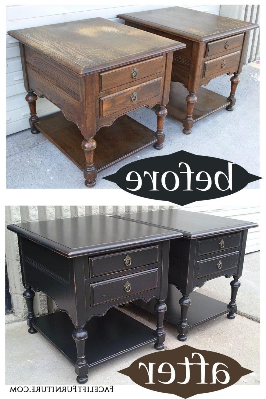 Oak End Tables In Distressed Black – Before & After (View 6 of 20)