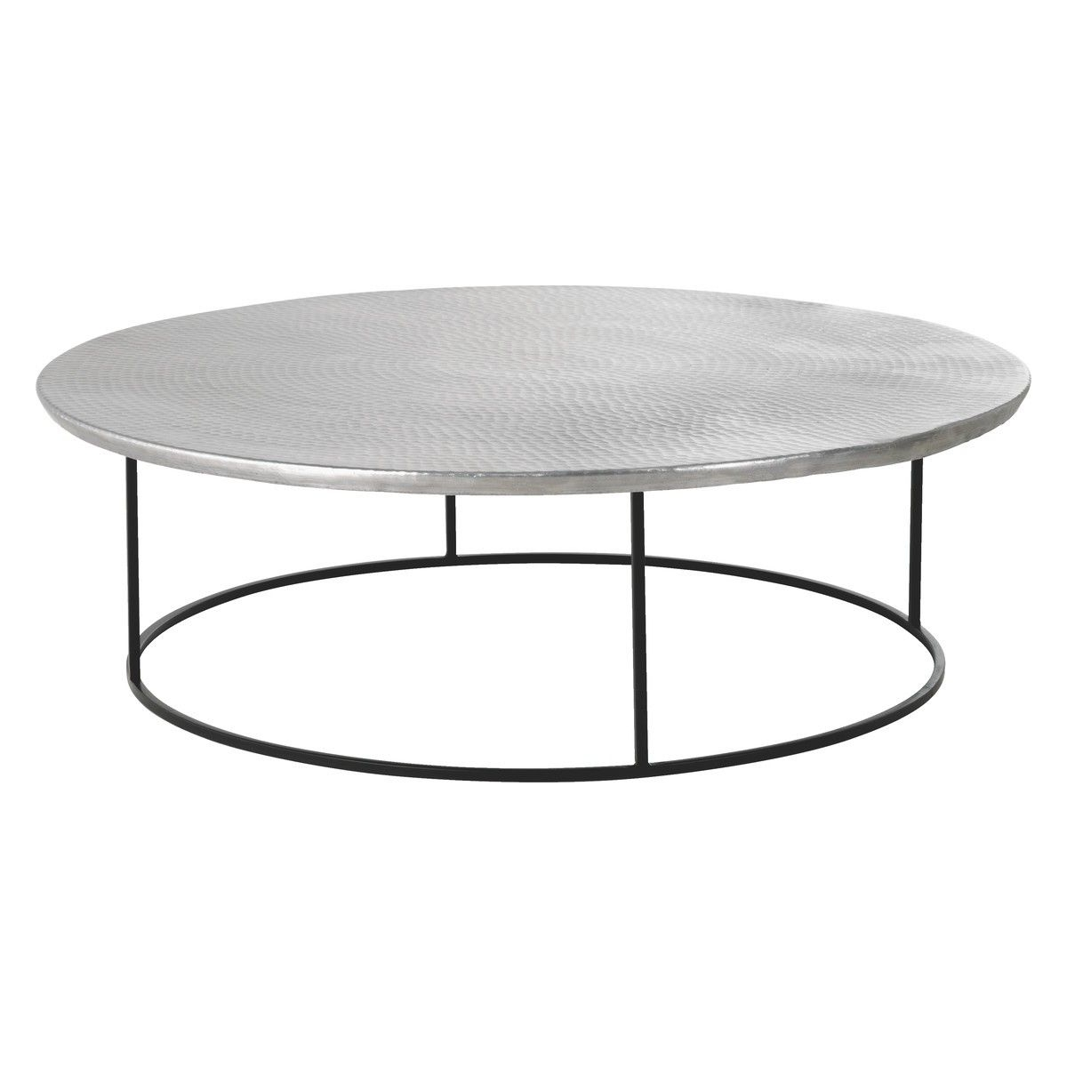 Orrico Hammered Aluminium Coffee Table With Black Frame (View 18 of 20)
