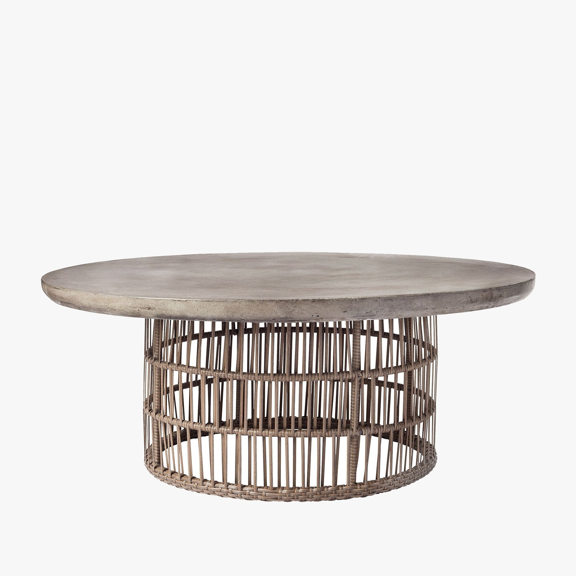 Our Laguna Rattan Coffee Table Features A Concrete Top With A Dark In 2018 Waxed Metal Coffee Tables (View 11 of 20)