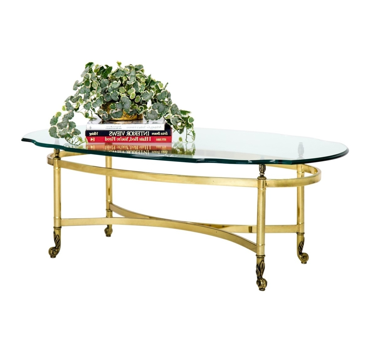 Oval Brass And Glass Cocktail Table – Janney's Collection Throughout Most Up To Date Antique Brass Coffee Tables (View 12 of 20)