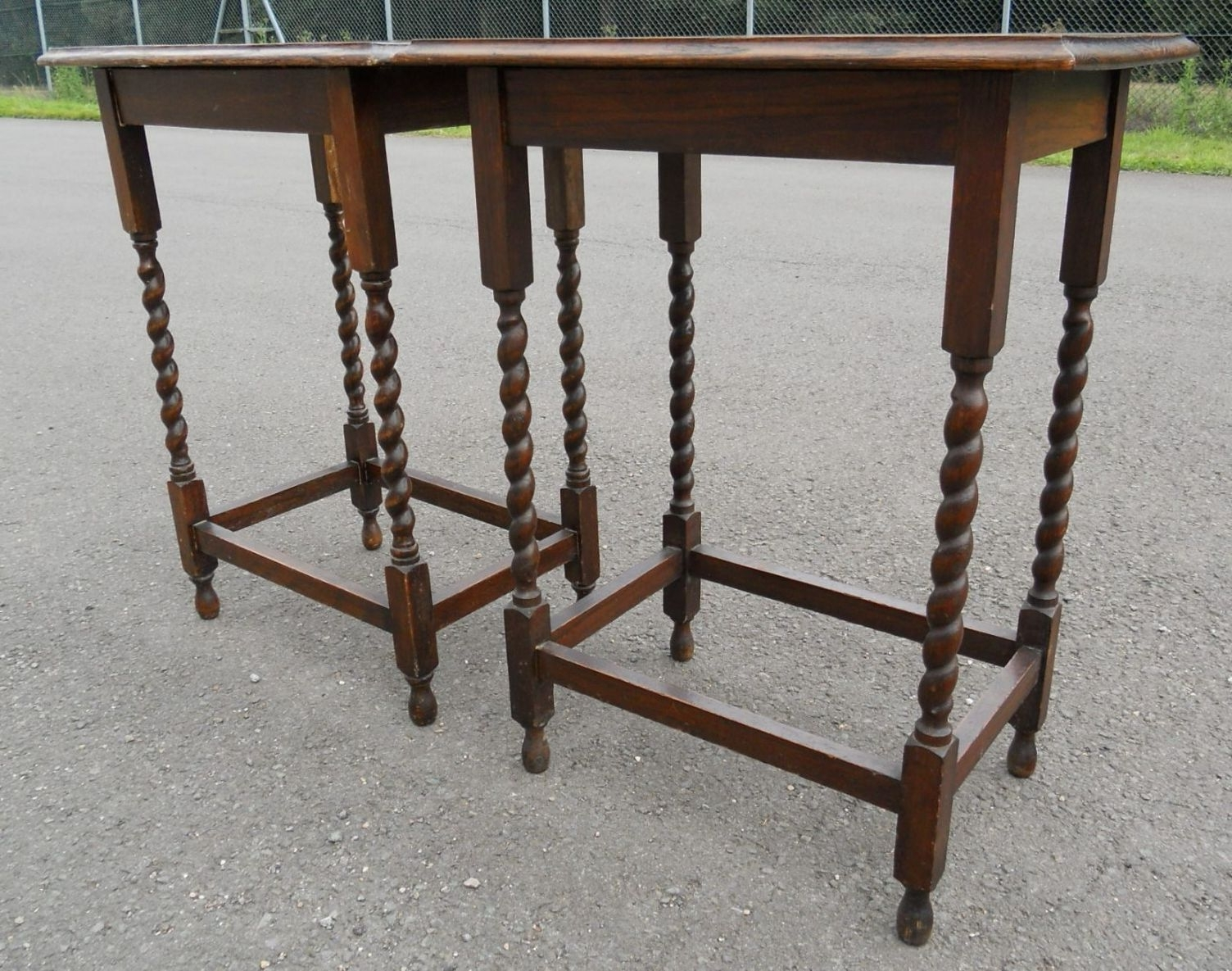 Pair Oak Barley Twist Leg Side Tables For Well Known Barley Twist Coffee Tables (View 16 of 20)