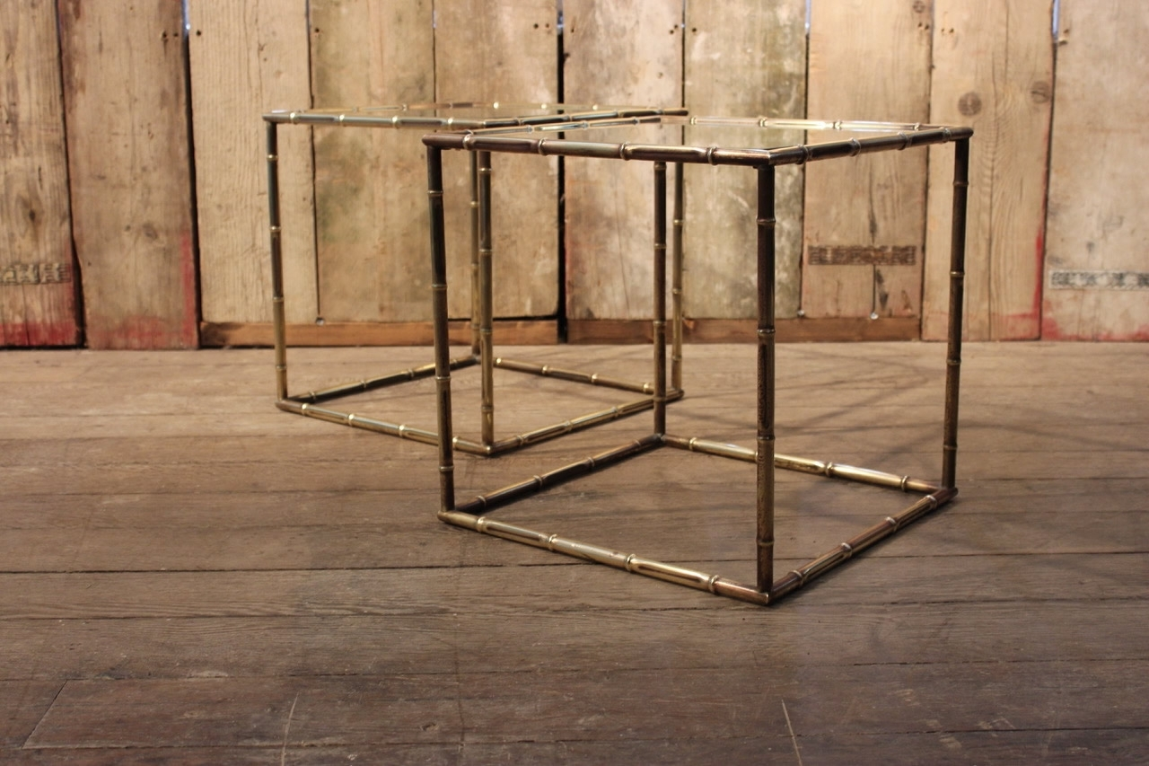 Pair Of 1950S Faux Bamboo Cube Brass Sofa Tables – Occasional Tables Within Most Up To Date Brass Iron Cube Tables (View 14 of 20)