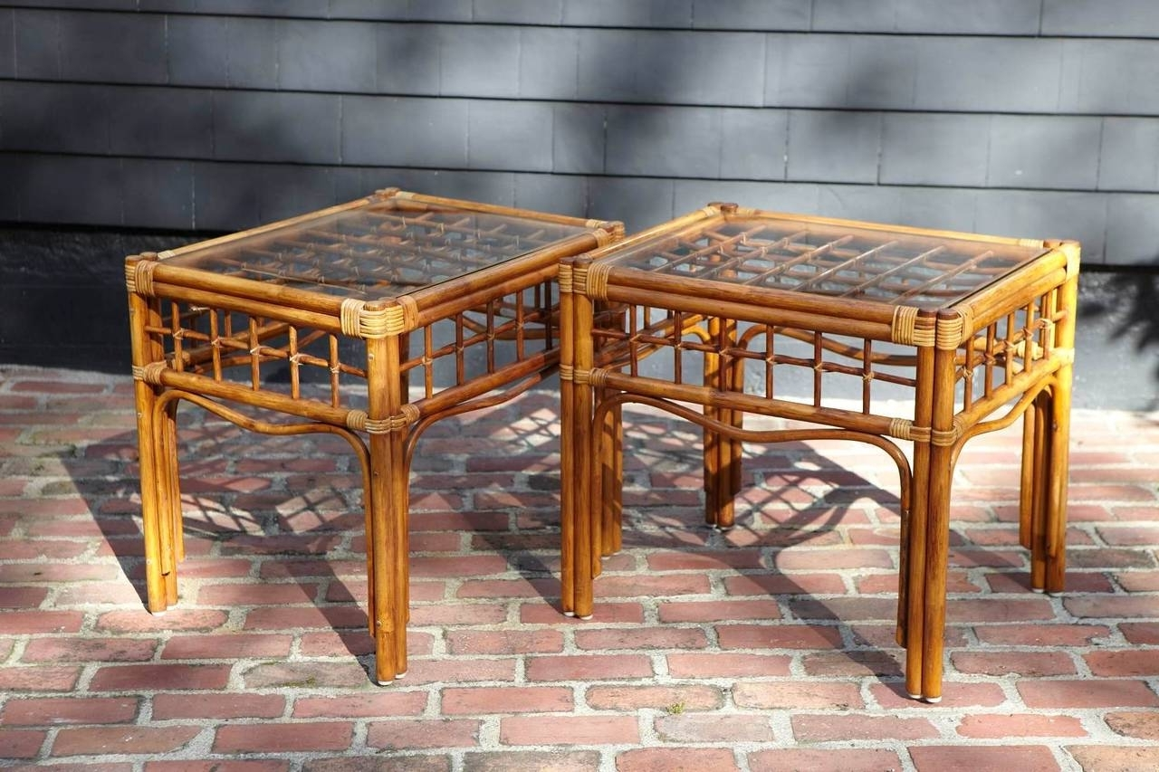 Pair Of Vintage Rattan Side Tables In The Style Of Franco Albini At Intended For Current Wilshire Cocktail Tables (View 10 of 20)