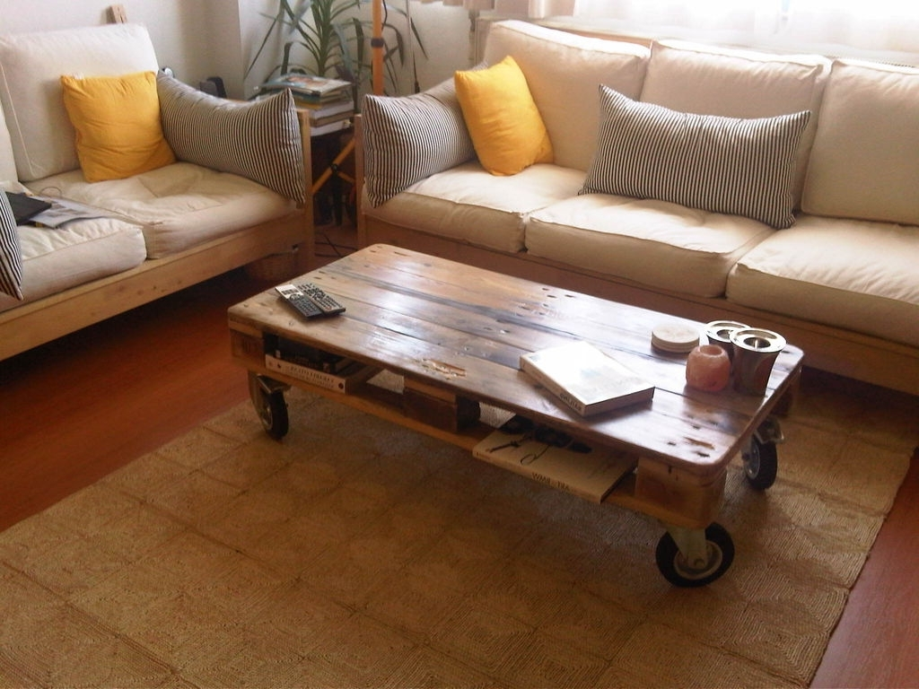Pallet Coffee Table From Reclaimed Wood: 8 Steps (with Pictures) With 2018 Natural Wheel Coffee Tables (View 20 of 20)