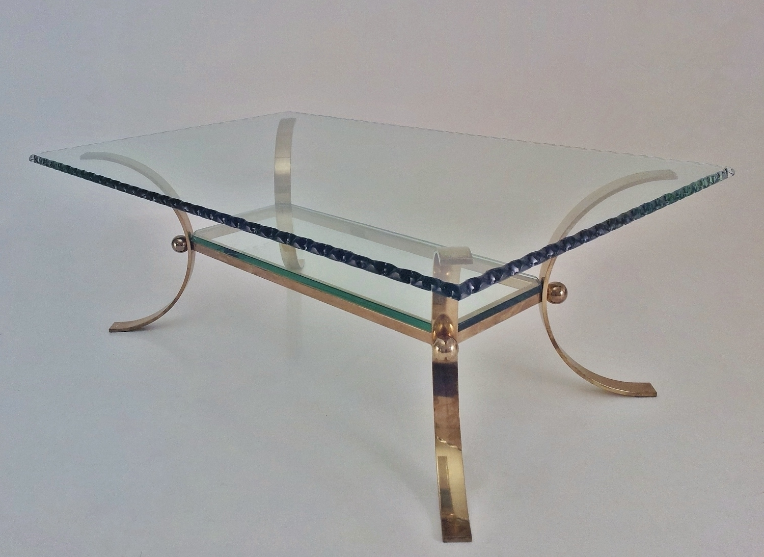 Pier Luigi Colli Vintage Large Coffee Table Brass & Chiseled Glass With Regard To Best And Newest Chiseled Edge Coffee Tables (View 13 of 20)